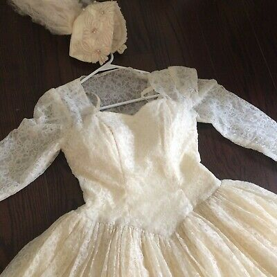 Vtg wedding dress gown ivory chantilly lace liquid satin veil beads 50s 40s