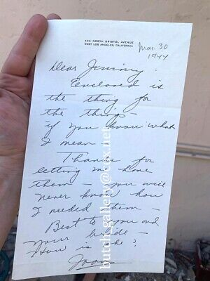 JOAN CRAWFORD hand written letter 1944 and Christmas Card signed autograph