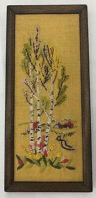 +Vintage Birch Tree Creek Flower Aspen Completed Embroidery Needlepoint Framed
