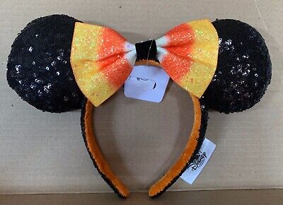 Disney Parks Halloween Candy Corn Minnie Ears With Bow Headband NWT 2019
