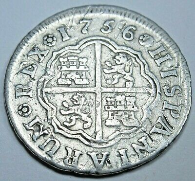 1756 Spanish Silver 1 Reales Piece of 8 Real Colonial Era Pirate Treasure Coin
