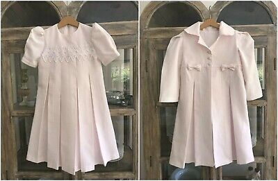 1980's vintage girls pink pleated tailored dress & matching coat, ideal wedding