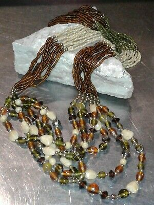 Long Distressed Multi Strand Green Brown Color Stripe Beaded Necklace Funky Bold