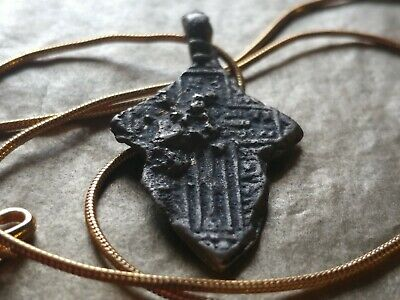 "1400's Ancient Byzantine Calvary Cross Pendant on a 22"" 18kgf Gold Filled Chain."