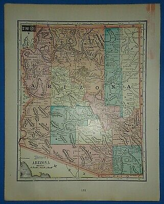 Vintage Circa 1905 ARIZONA TERRITORY MAP Old Antique Original Tunison Atlas Map