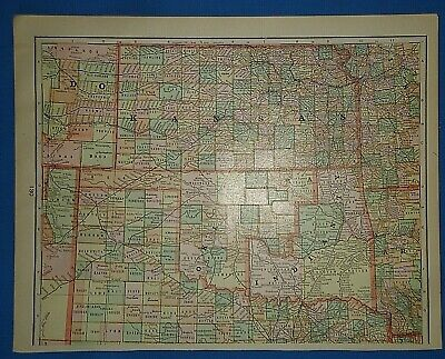 Vintage Circa 1905 INDIAN TERRITORY - KANSAS MAP Old Antique Original Tunison