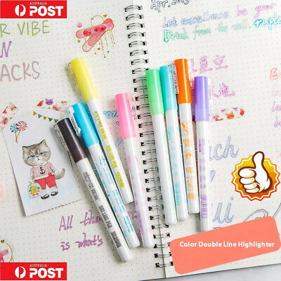 Gift Card Writing & Drawing Double Line Outline Pen, 8Color NEW  eE