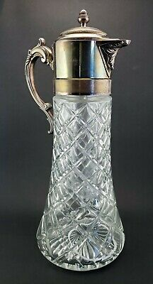 Vintage Italian Cut Glass & Silver Plate Decanter Pitcher Carafe w Ice Insert !!
