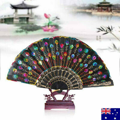 NEW Vintage Peacock Feather Hand Fan Wave Sequins Folding Pocket Dancing Fan AU