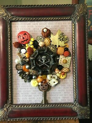 Framed Jewelry Art Vintage Fall Halloween Decoration Pumpkin Faucet Handle 5x7