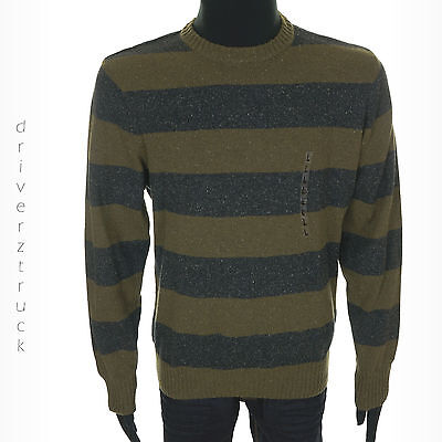 DOCKERS Men's LARGE Burnt Olive GREEN SWEATER Charcoal GRAY Speckled STRIPE