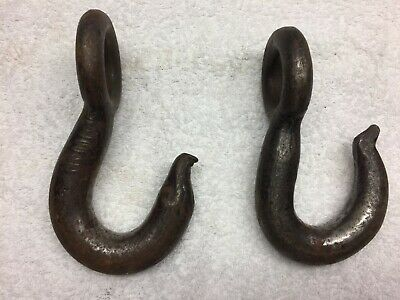 Lot of 2 Vintage Crane Cable Lifting Tow Rigging Chain Hoist Eye Grab Hooks
