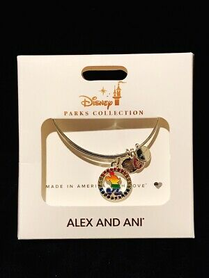 Disney 2019 Alex & Ani Pride Jeweled Mickey Mouse Rainbow Silver Toned Bracelet