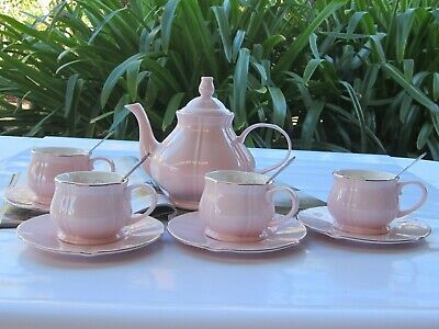 Cherry Blossom Tea Set with 10 Pieces -Pink -Teapot,4 X Cups,Saucers & Spoons