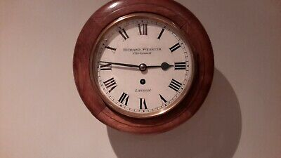8in dail School /station fusee clock, Marked RICHARD ...WEBSTER..CLERKENWELL..
