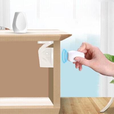 Child Safety Magnet Invisible Locks (4-Pack) for Kitchen Cabinet Drawer Cupboard