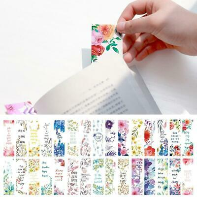 30Pcs Flowers Bookmarks Book Notes Paper Page Holder for Books School Decor Top
