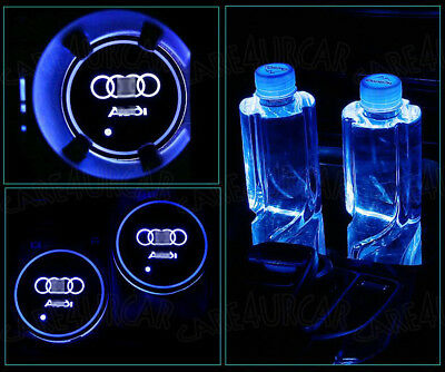 2x LED Car Cup Holder Bottle Pad Mat for Audi Auto Interior Atmosphere Light Acc