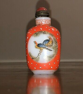 Beautiful Antique Chinese Signed Hand Painted And Glass Snuff Bottle