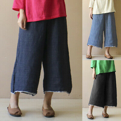 Womens Palazzo Wide Leg Pants High Waist Denim Jeans Culottes Trousers Size 8-26