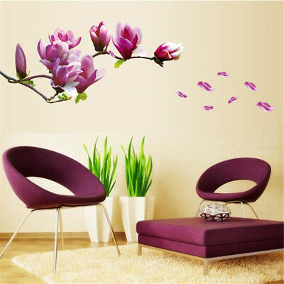 DIY Magnolia Flower Wall Decal Vinyl Sticker Mural Art Living Room Home Decor EO
