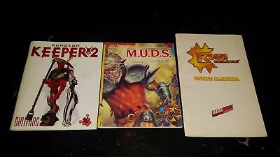 3 PC Manuals Crush Deluxe,M.U.D.S. & Dungeon Keeper 2 Circa 1990s