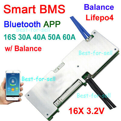 Smart 16S 48V LiFePO4 Battery Protection Board BMS Balance Bluetooth APP 3.2VX16