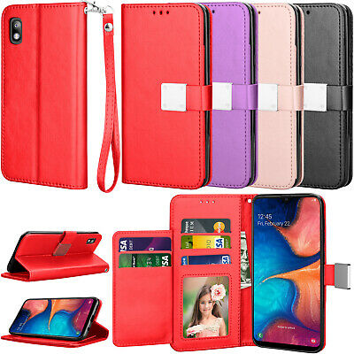For Samsung Galaxy A10e/A50/A30/A20 Phone Leather Card Wallet Case Cover + Strap