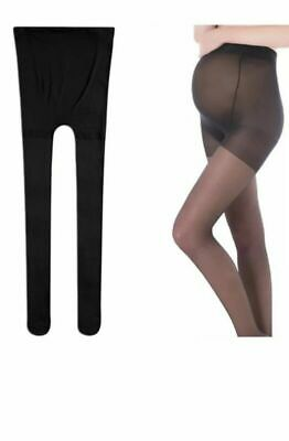 Maternity Black Thin Tights Breathable Crotch Sheer Pantyhose  8D Size XL