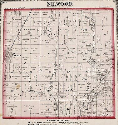 1875 Nilwood Illinois Map Girard Woodburn Macoupin County Plats Property Owners