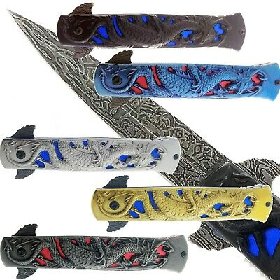 Heavy Duty Fierce Dragon Spring Assisted Knife With Damascus Pattern Blade