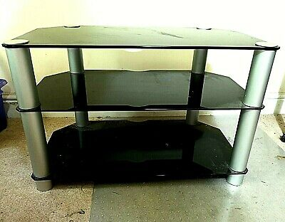 Black Gloss Tempered Glass 3 Tier TV Television Stand Table 81cm Long
