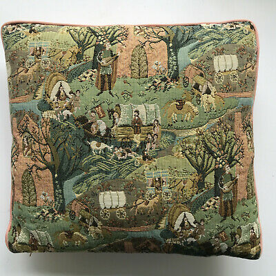 """Medieval Peach Tapestry Moire Fabric Peach 16"""" Pillow Cover Middle Ages Scenery"""
