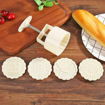4-Style Flower Stamps Moon Cake Decor Mould Round Mooncake Mold DIY Baking Tool