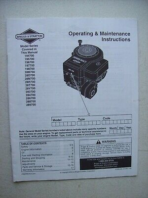 Original Briggs & Stratton ~ 194700 197700 283700 289700 Engine Operating Manual