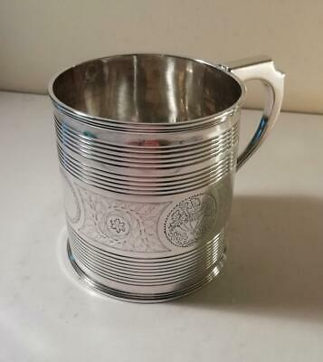 An Antique Silver Tapered Form George III Mug w. Fine Engraving : London 1812