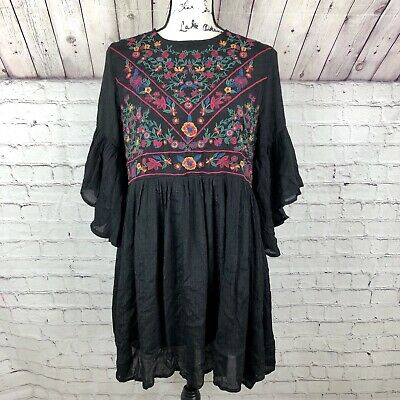Umgee Black Bell Sleeve Floral Embroidered Dress Size M Boho Peasant Mini