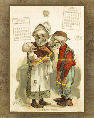 "1901 /""KEEP HIM BUSY/"" PHARMACY SKELETON 8x10 Antikamnia Halloween Art print"