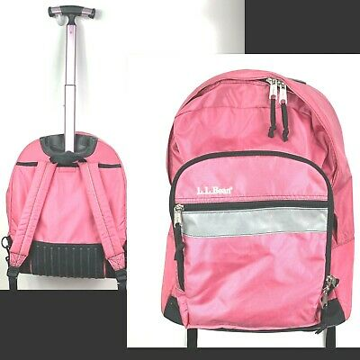 LL BEAN Deluxe Rolling Backpack T-Handle Carry on Wheeled Book Bag pink