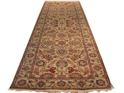 Beige 12 foot Indian Fine Quality Lotus Genuine Handmade 4' x 12' 4'' Rug