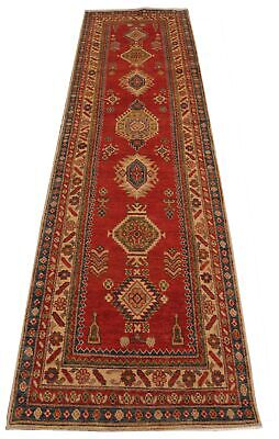 Red Hand-knotted 3 x 11 Women Weaver's Peaceful Symbolism Runner 36 x 129 in Rug