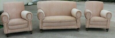 Vintage Oak Frame Day Bed Sofa  With 2 Arm Chairs On Castors In Lovely Conditio