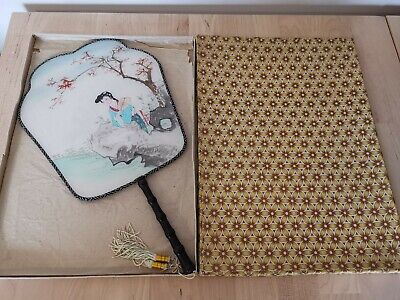 Vintage Japanese Hand Fan With Box - Oriental Fan with Double design Uchiwa