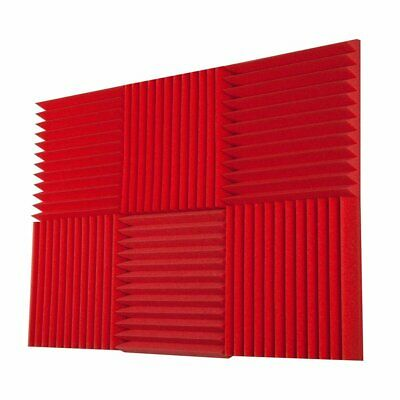 """6 PK 2""""x12""""x12"""" Acoustic Foam Wedge Red Sound Proof Recording Studio Wall Panels"""