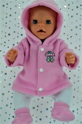 """Play n Wear Dolls Clothes To Fit 17"""" Baby Born PINK JACKET~TIGHTS~BOOTIES"""