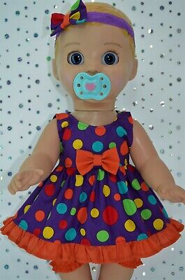 "Play n Wear Dolls Clothes For 17"" Luvabella Doll SPOT DRESS~BLOOMERS~HEADBAND"