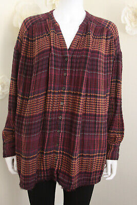 Free People Flannel Burgundy Plaid Drop Shoulder Tunic M Nwot