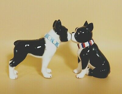Boston Terrier Collectible Salt & Pepper Shakers Kissing Magnets With Tags