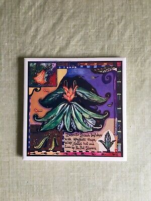 "Wendy Costa Art Tile Trivet Wall Art Culinary Food Ceramic (6"") Handmade in USA"
