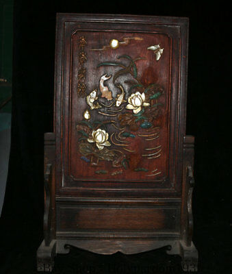"""22"""" Antique China Huanghuali Wood Inlay Shell Dynasty Fish Lotus Flower Screen"""